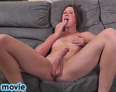 Sexy shemale playing her long cock